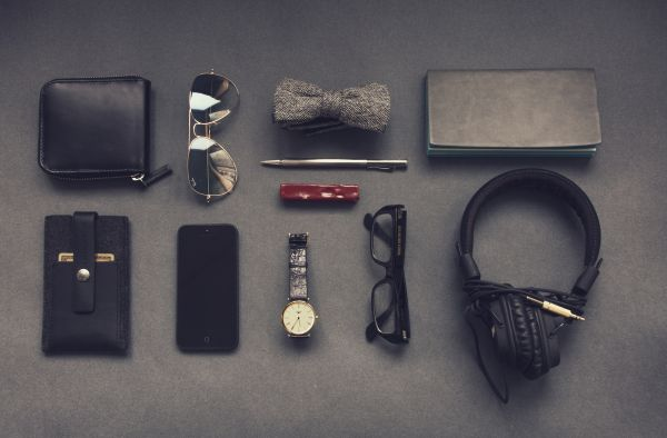 Wallet Headphones Watch Glasses photo