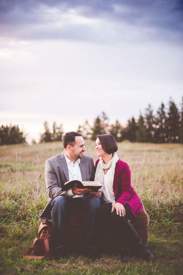 Couple Love Reading Park photo