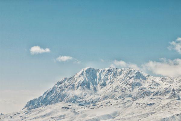 Mountain White Snow Blue Sky photo