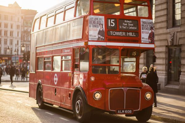 Vintage Red London Bus photo