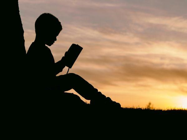 Silhouette Child Reading Sunset photo