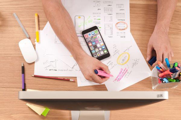 iPhone, Paper Wireframe & Mac photo