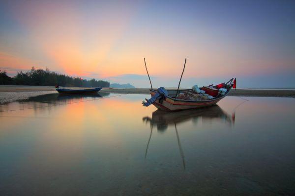 Fishing Boat Still Water Sunset photo