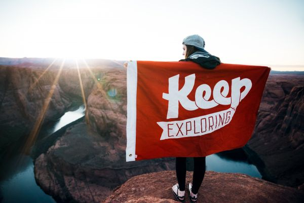 Keep Exploring Flag Red photo