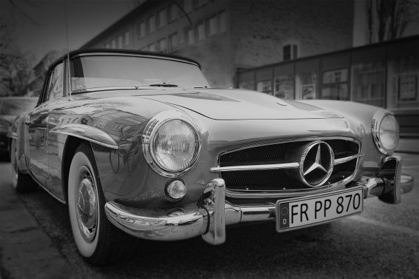 Vintage Mercedes Car Black White photo