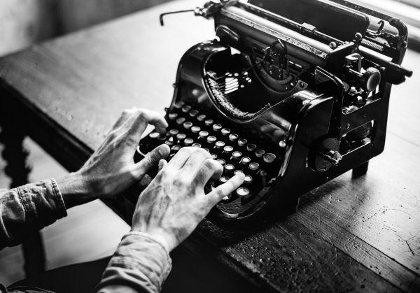 Typing Vintage Typewriter B&W photo