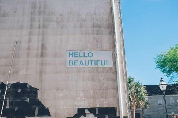 Hello Beautiful Building Sign photo