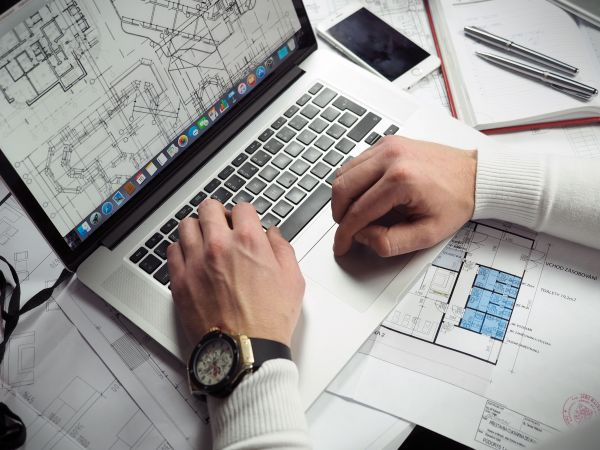 Business Man Laptop Wireframes photo