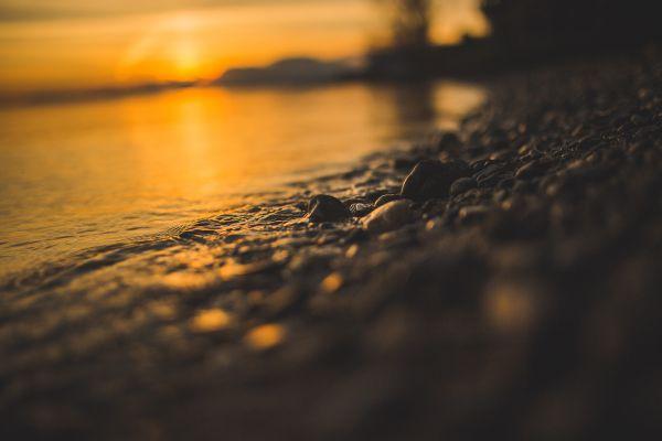 Sea Stones Shore Sunset photo
