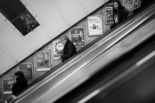 Descending Escalator Black White photo
