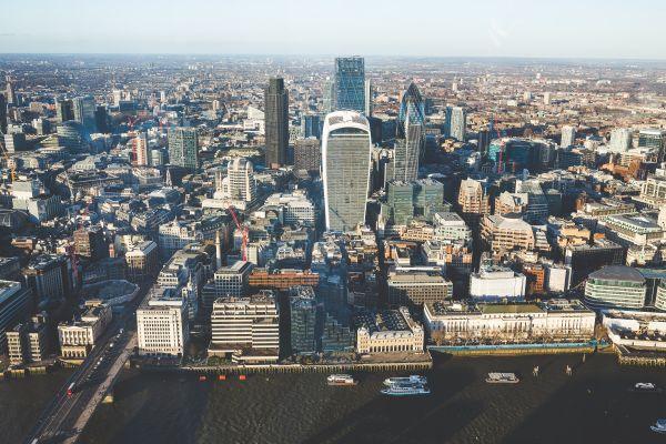 Aerial View City Skyline Skyscraper photo