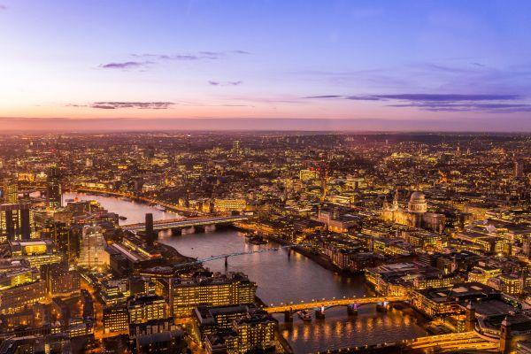 Aerial View City River Sunrise photo