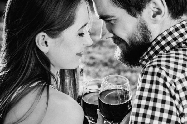 Woman & Man Drinking Red Wine photo