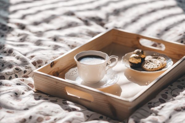 Coffee and Cookies on Tray photo