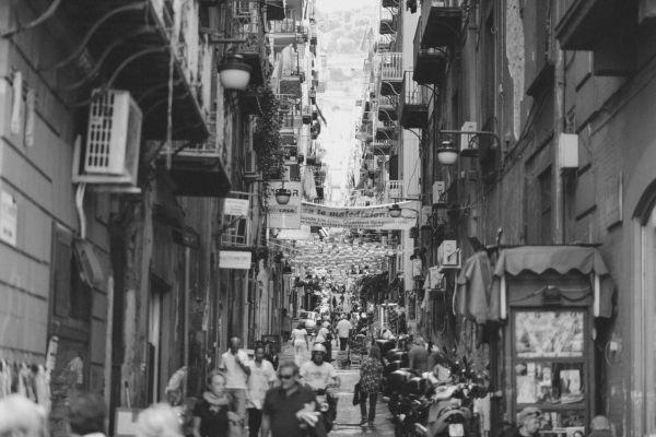 Italian Side Street B&W photo