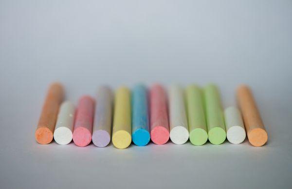 Colorful Chalk on White Background photo