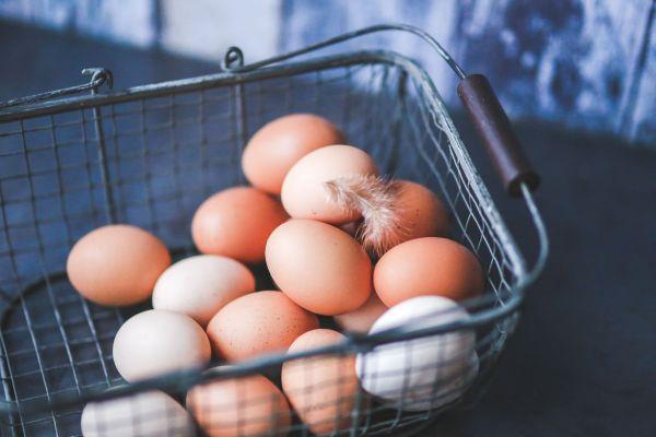 Eggs in Metal Basket photo