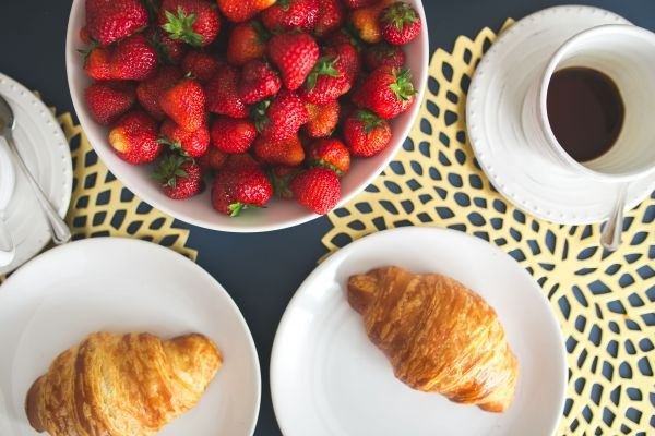 Croissants Coffee and Strawberries photo