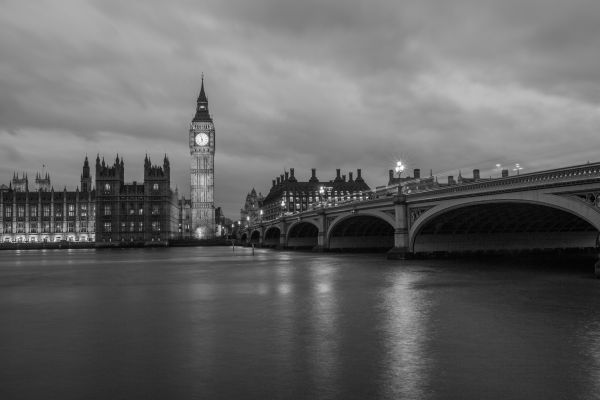 Big Ben at Night in Black and White photo