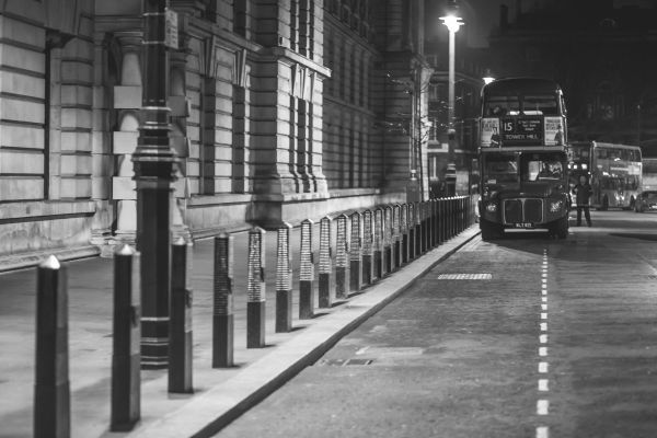 Black and White Vintage London Bus photo