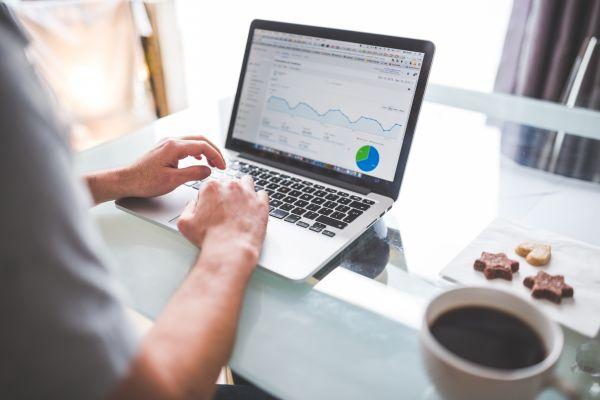 MacBook, Analytics and Coffee photo