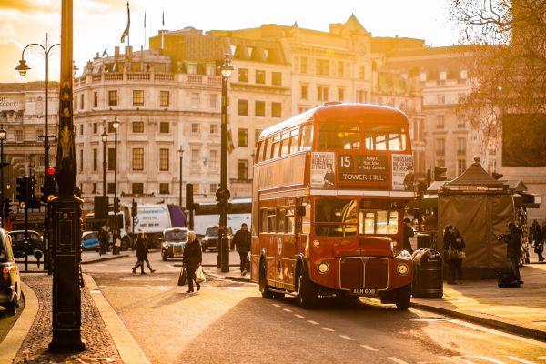 Vintage London Bus at Sunset photo