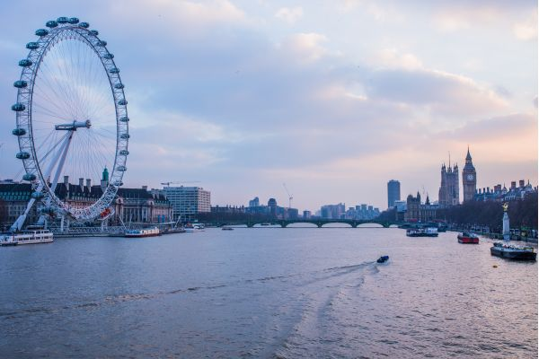 Sunset Over the River Thames London photo