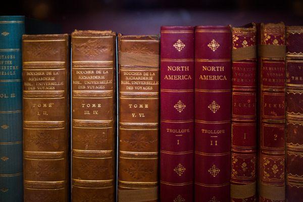 Antique Books on Shelf photo