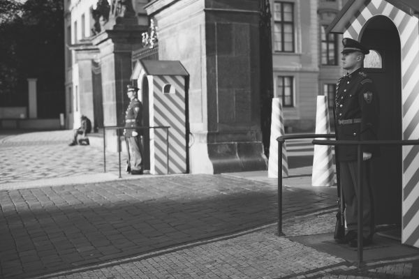 Soldiers Standing Guard in Prague photo
