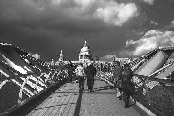Crossing London Bridge Cloudy Day photo