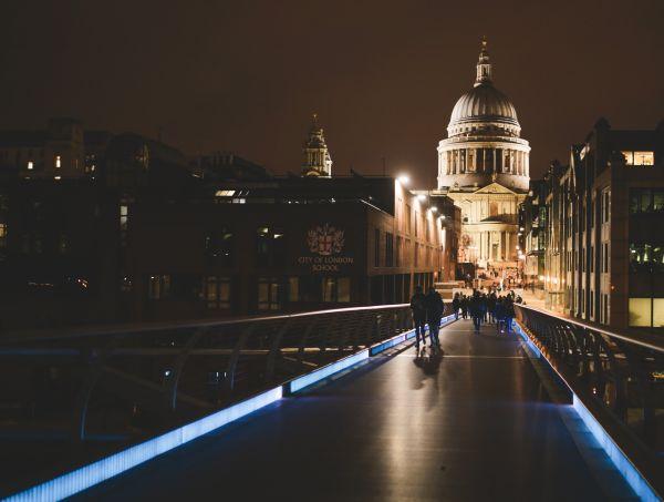 London Cathedral & Bridge at Night photo