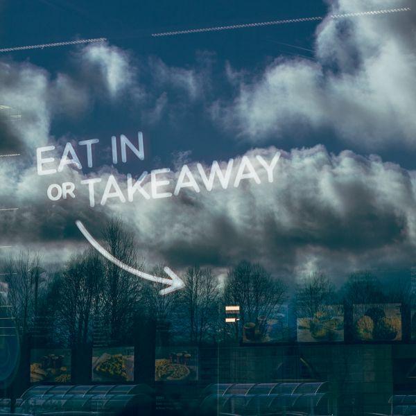 Eat In or Takeaway Window Sign photo