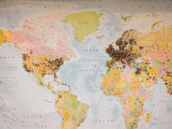Pinned World Map photo