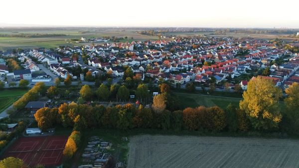 Village  drone  sunset video