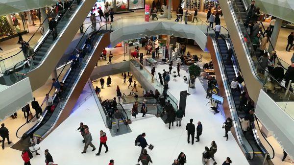 Shopping center  escalators  modern video