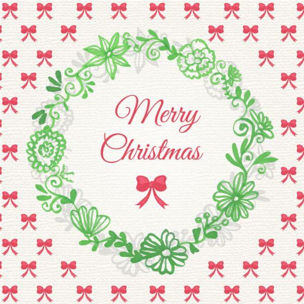 Christmas background with floral frame vector