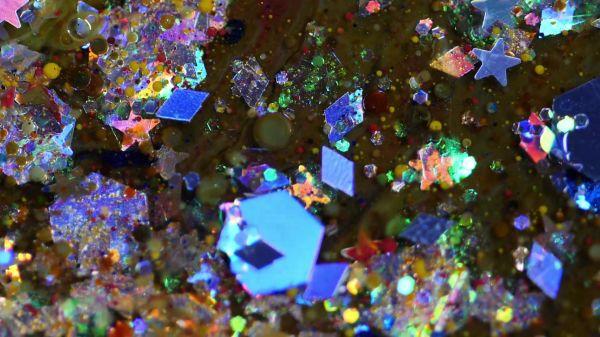 Glitter  water  close-up video
