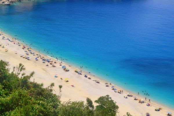 Myrtos Beach Aerial View in Greek Island of Kefalonia photo