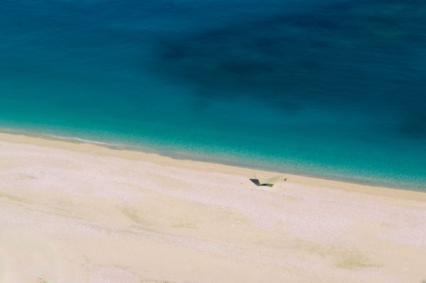 Aerial View of the Beach and sea in Myrtos Beach, Greek Island of Kefalonia photo