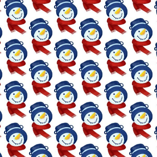 Christmas pattern with snowman head vector