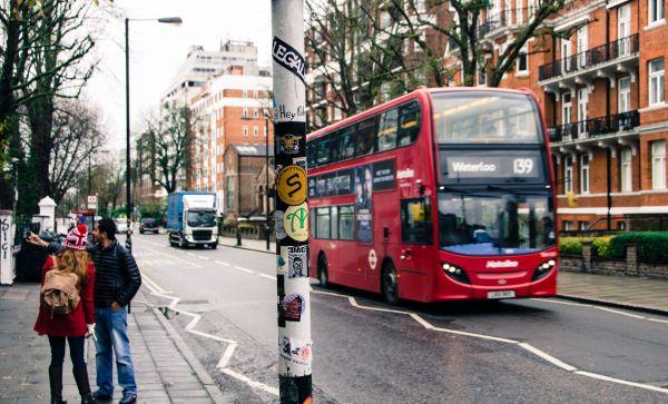 Bus driving through London photo