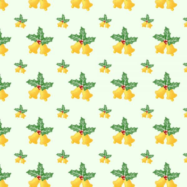 Christmas pattern with leaves and bells vector