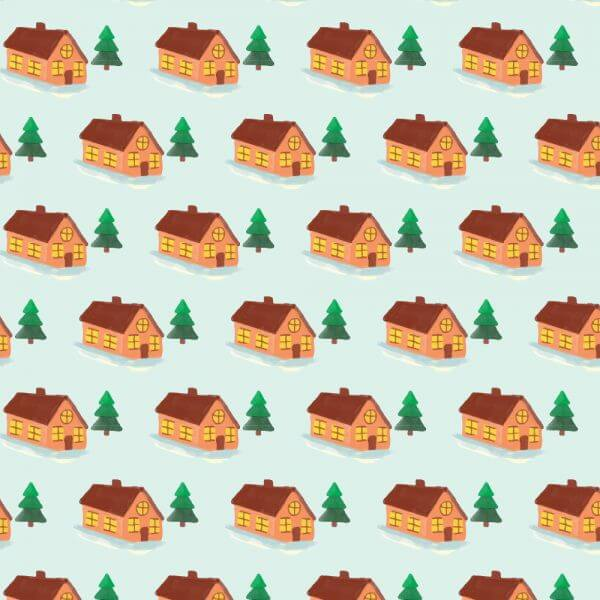 Christmas pattern with house vector