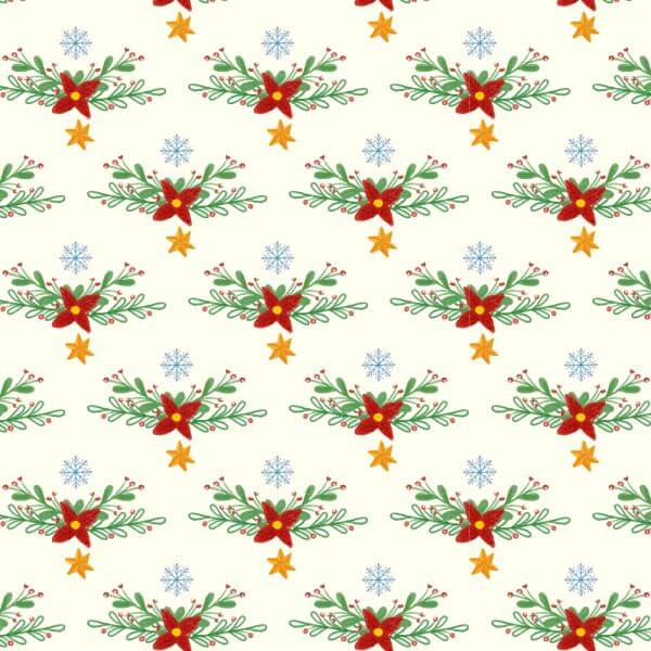 Christmas pattern with floral decoration vector