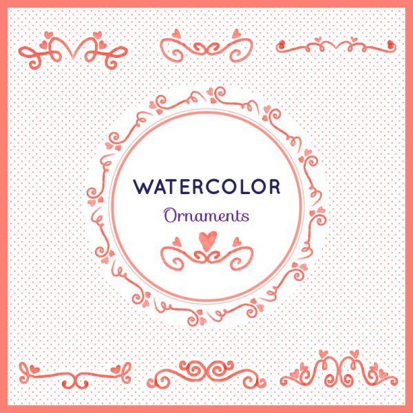 Watercolor set of ornamnets vector