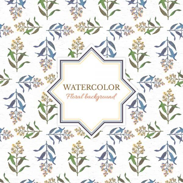 Watercolor floral background with frame vector