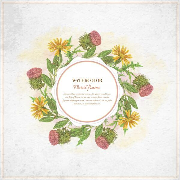 Vintage watercolor floral frame with typography vector