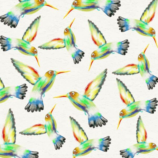 Watercolor background with hummingbirds vector