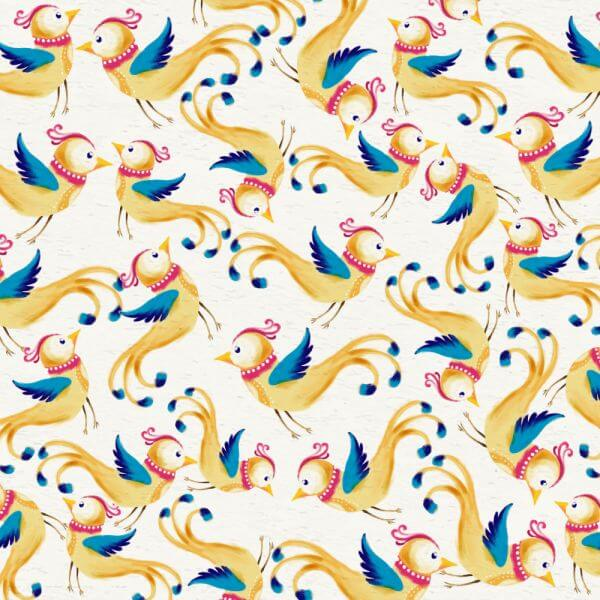 Watercolor background with cute birds vector