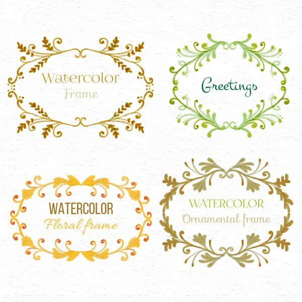 Watercolor set of frames vector